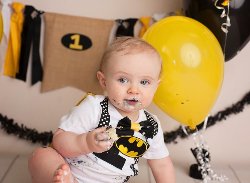 bat man first birthday cake smash