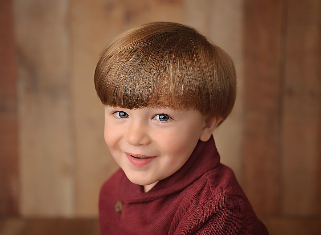 3 year old boy with red sweater