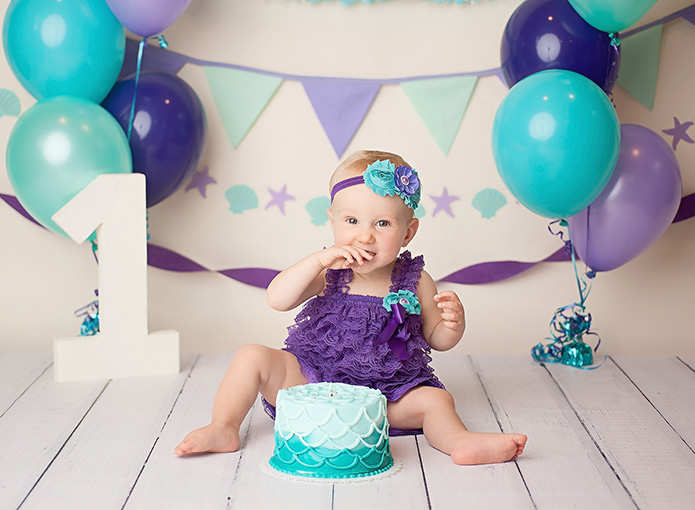 mermaid themed first birthday cake smash