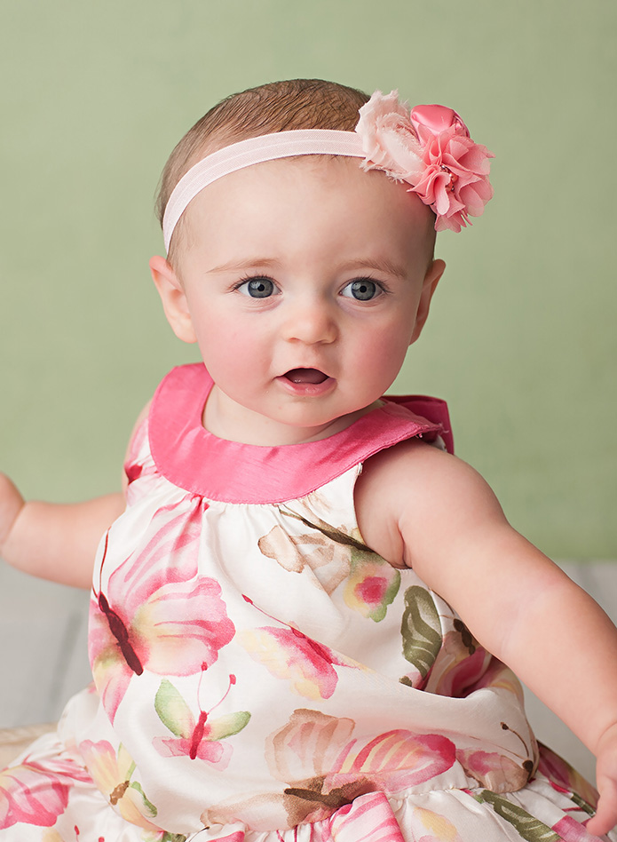 baby girl in butterfly dress