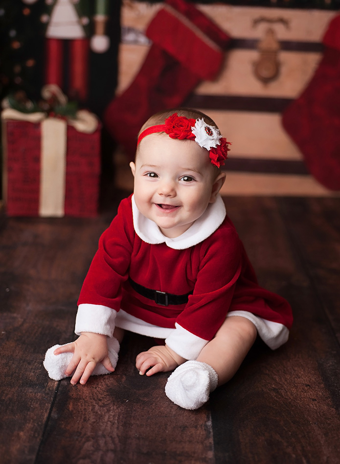 baby girl in santa dress