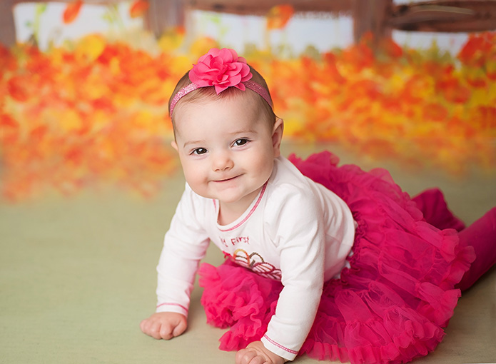 6 month old girl in pink tutu