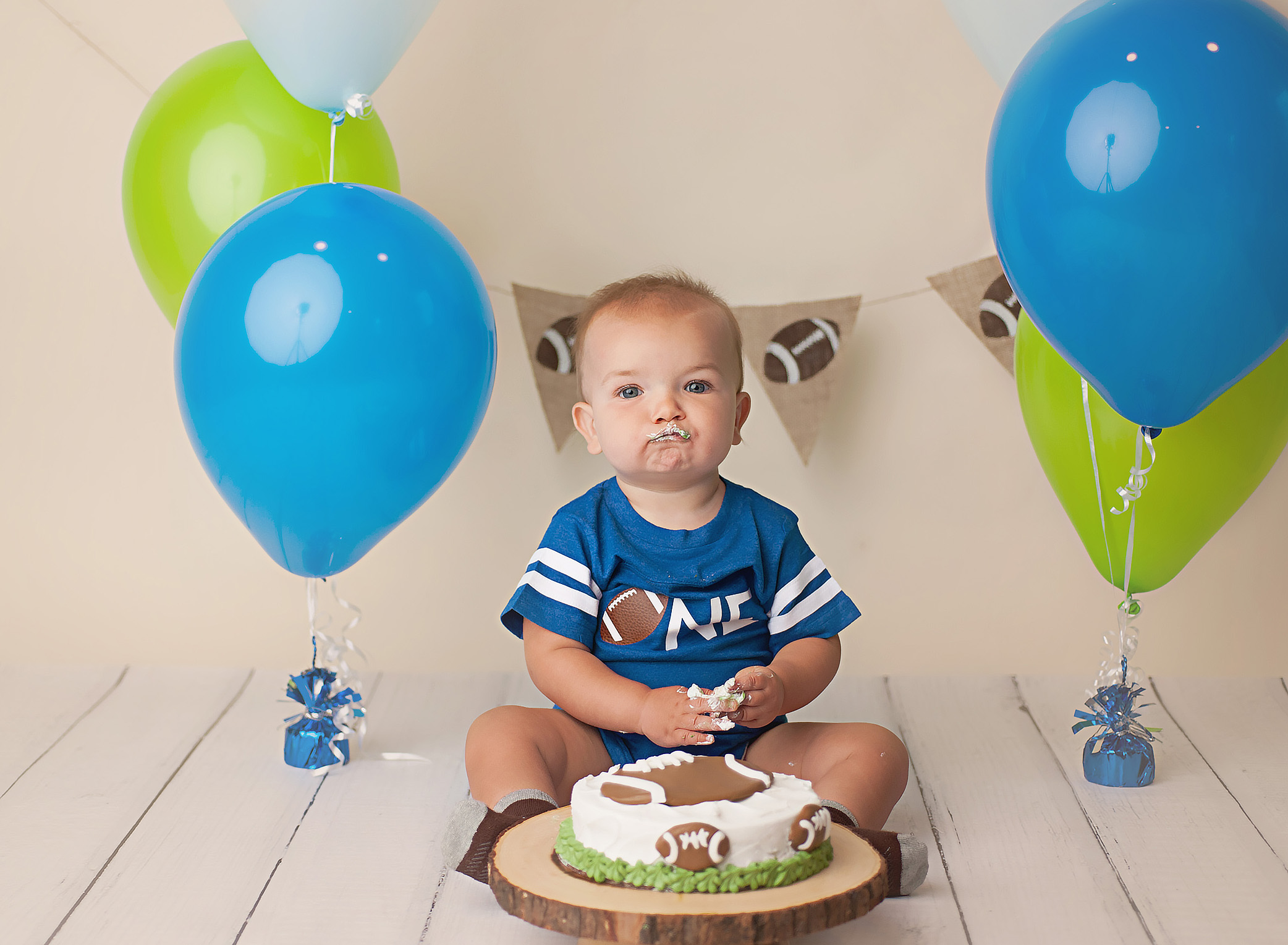 One year old football photography session