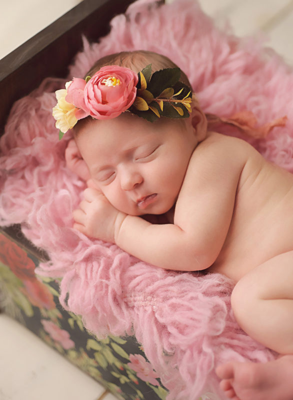 newborn baby girl with floral crown