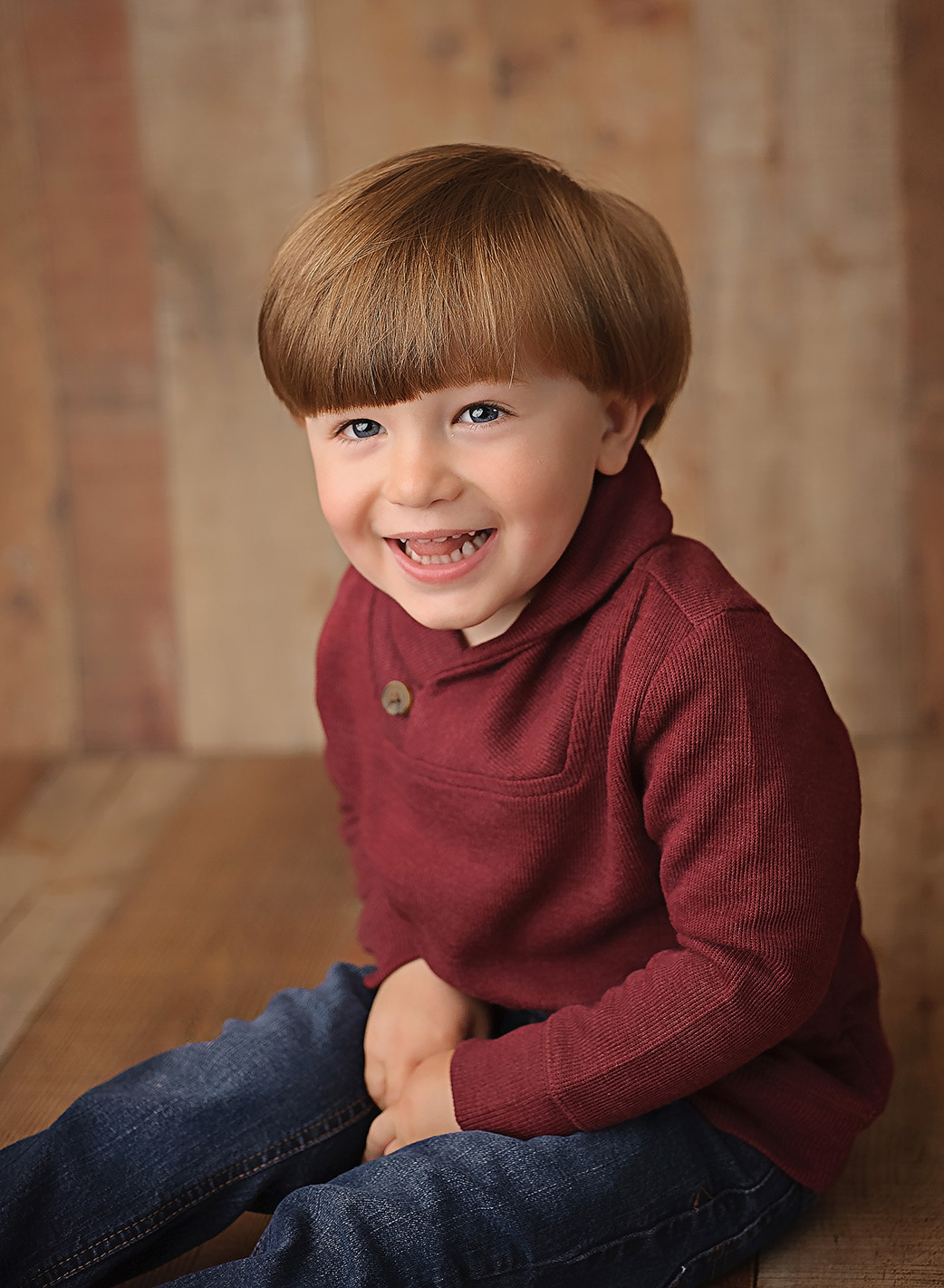 3 year old boy in red sweater