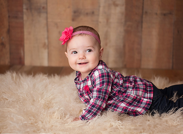 6 month old baby girl with pink bow