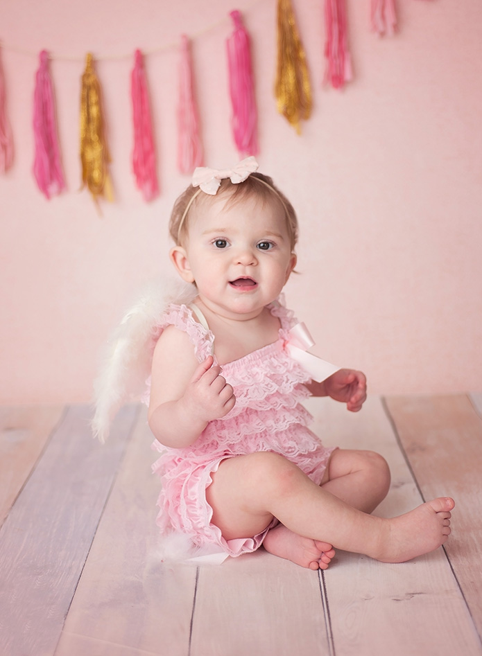 valentines day baby girl in pink romper