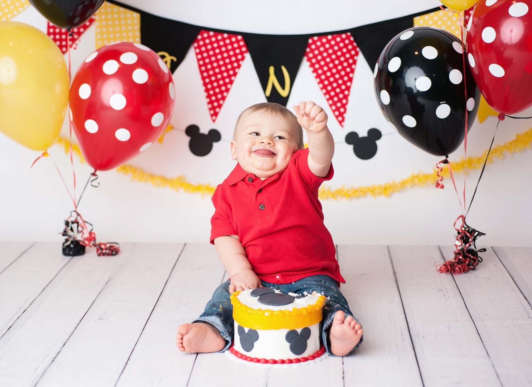 first birthday mickey mouse photo session